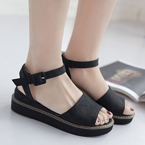 COOLCEPT Mujer Moda Correa de Tobillo Sandalias Punta Abierta Tacon de Cuna Slingback Zapatos Negro
