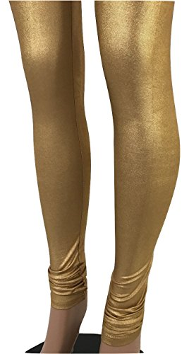 Superior Quality Gold or Silver Indian Shiny Women legging Bollywood Dance pants (One Size Fits S-XL, Gold)