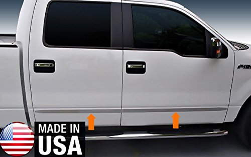 Made In USA! Works With 09-2014 Ford F150 Crew Cab Rocker Panel Chrome Stainless Steel Body Side Moulding Molding Trim Cover 1 1/2'' Wide 4PC - 1 1/2' Wide Trim