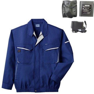 空調服 綿ポリ混紡長袖作業着 BK-500N 〔カラー:ブルー サイズ:XL〕 リチウムバッテリーセット[通販用梱包品] B07DGY5GVK