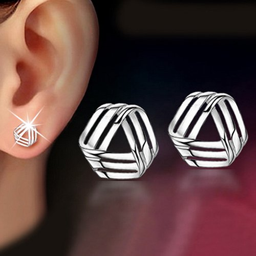 Polytree Earrings, Womens Bridal Triangle Streamlined 925 Sterling Silver Jewelry Charm Wedding Gifts