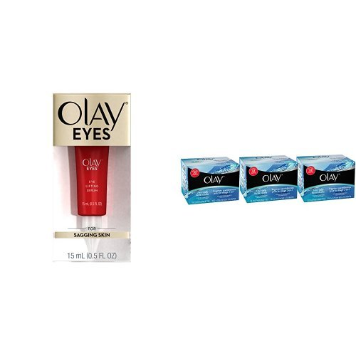 Olay Eyes Eye Lifting Serum Bundle with 3-Pack of Olay 4-in-1 Fragrance & Soap Free Daily Facial Cloths for Sensitive Skin