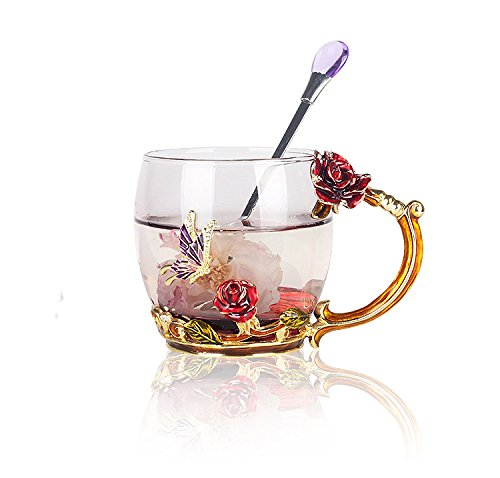 Creative Handmade Enamel Home Decration Enamel Flower Crystal Glass Coffee Tea Water Cup (32CL, Rose Red) Enamel Water