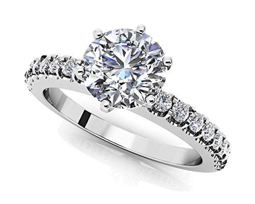 14K Or blanc serti côté Diamant Bague de fiançailles