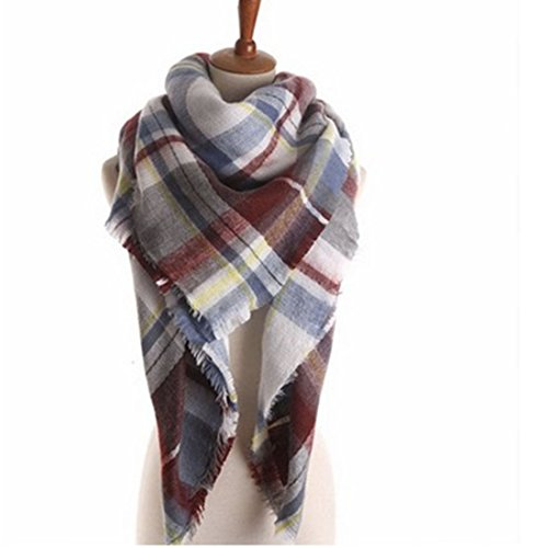 Women's Cozy Tartan Scarf Wrap Shawl Neck Stole Warm Plaid Checked Pashmina (7)