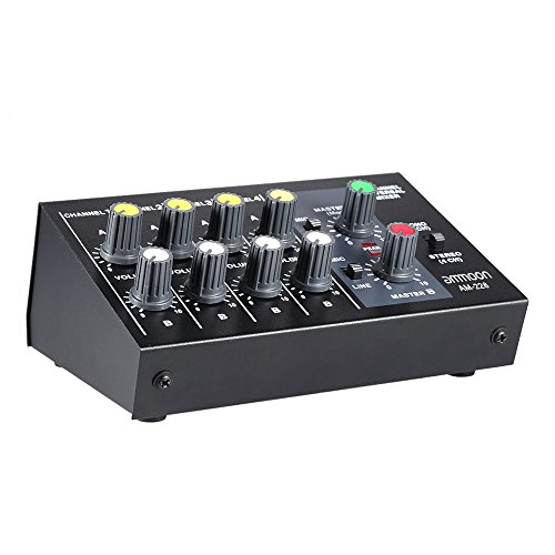 ammoon AM-228 Ultra-compact Low Noise 8 Channels Metal Mono Stereo Audio Sound Mixer with Power Adapter Cable
