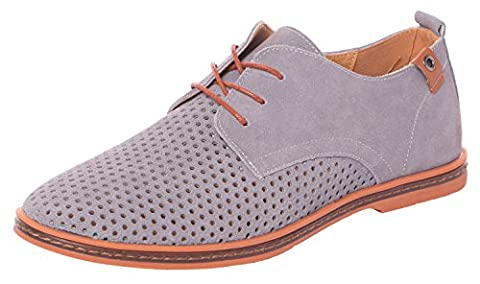 UJoowalk Mens Leather Plain Toe Breathable Outlet Dress Shoes Casual Oxfords(8 D(M)US,grey) (Bo Street Runners)