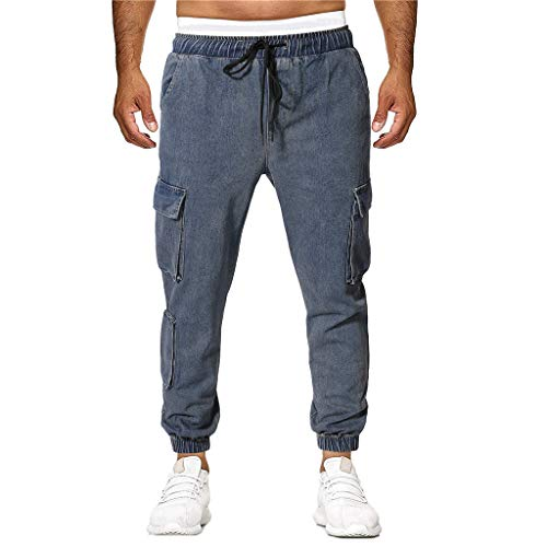 - SPE969 Denim Elastic Pants Men's Casual Long Pencil Jeans Destroyed Hole Ripped