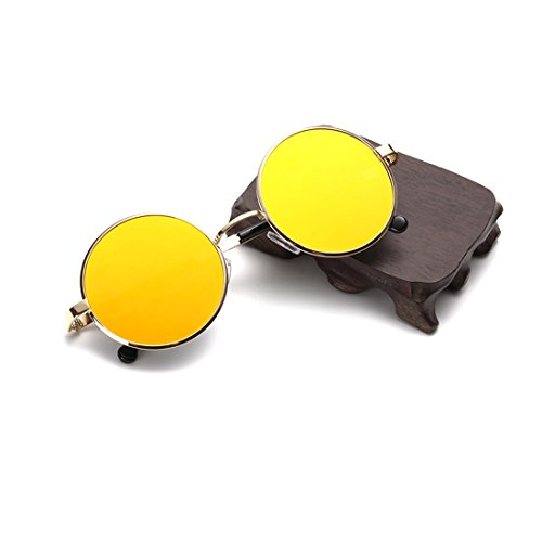 Retro Round Sunglasses for Mens & Womens with Yellow Colors Mirror Metal - Sale Glasses Mykita