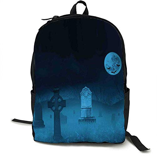 Gothic Unisex classic backpack Ghostly Graveyard Illustration Horror Halloween Dead Danger Theme Full Moon Bat Mystery Suitable for 16-inch laptops 16.5 x 12.5 x 5.5 Inch Blue