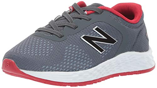 New Balance Boys' Arishi V2 Bungee Running Shoe, Gunmetal/Energy red, 3 M US Infant