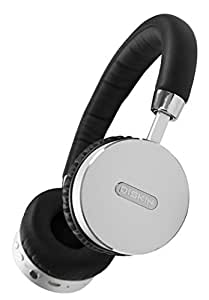 Diskin DH3 Bluetooth Wireless On-Ear Stereo Headphones with Microphone and Volume Control - Black/Silver
