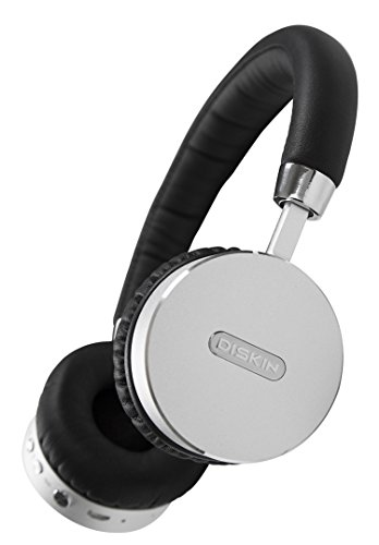 Diskin DH3 Bluetooth Wireless On-Ear Stereo Headphones with Microphone and Volume Control - Black / Silver
