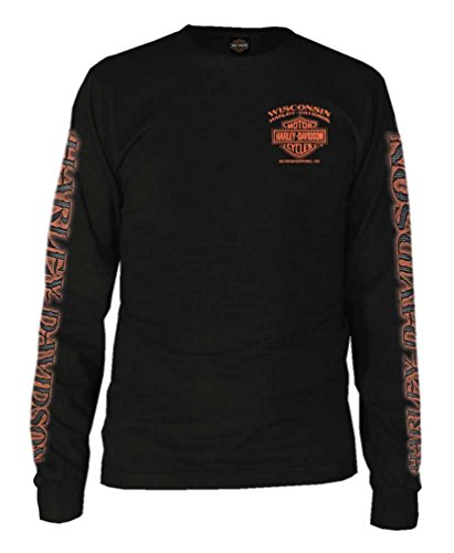 Harley-Davidson Men's Eagle Piston Long Sleeve Crew Shirt, Black 30299947 (5XL) ()