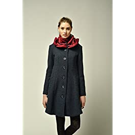 Womens dark blue coat with red knitted collar in shape of rose