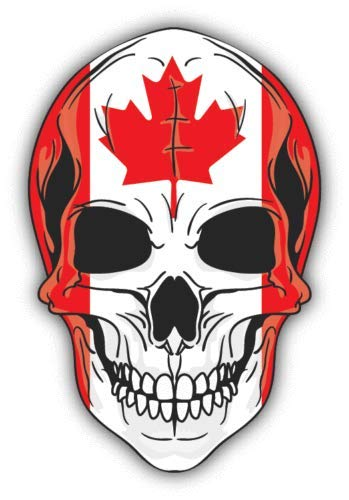 Crazy Discount Vinyl Sticker Decal Skull Flag Canada for Windows Car Cell Phone Bumpers Laptop Wal, 4