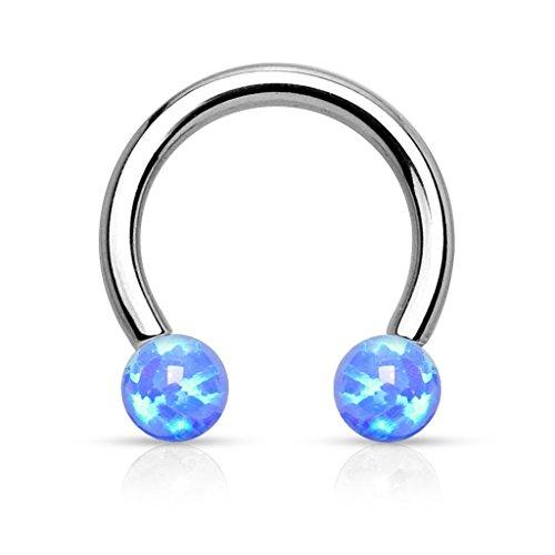 1pc Internally Threaded Opal Balls Horseshoe Lip/Nipple/Septum Ring - 16g (Blue