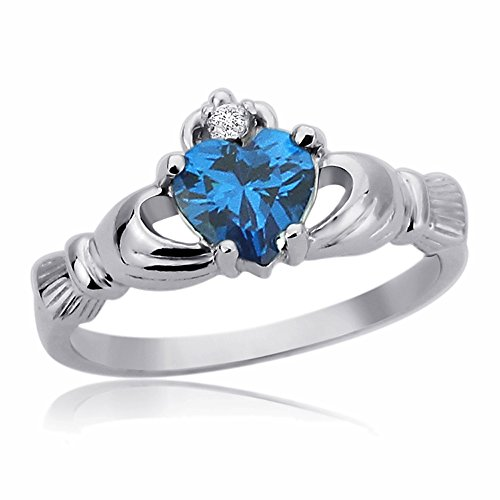 Sterling Silver 9mm Light Blue Color Heart CZ Claddagh Celtic Ring Engagement Ring -Size: 7 ()