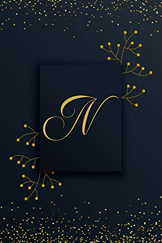 (N: Letter N Journal, Black Pearl with Gold Accents, Personalized Notebook Monogram Initial, 6 x 9)