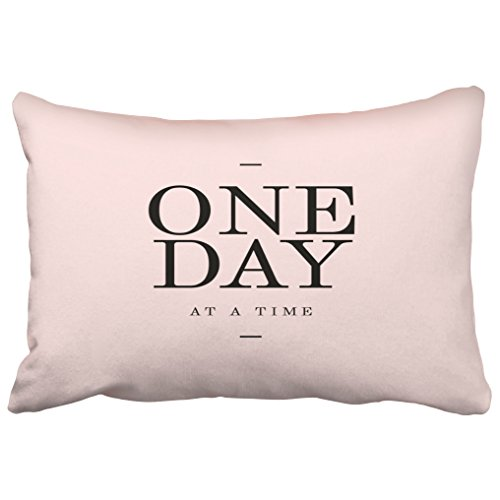 Emvency Decorative Throw Pillow Covers One Day Perseverance Quote Blush Pink Cushions Christmas New Year Queen 20x30 Inches(51x76cm) One Side Pillow Case Cover Cases Cushion Protectors Decor Sofa (Blush Dahlia Pink)