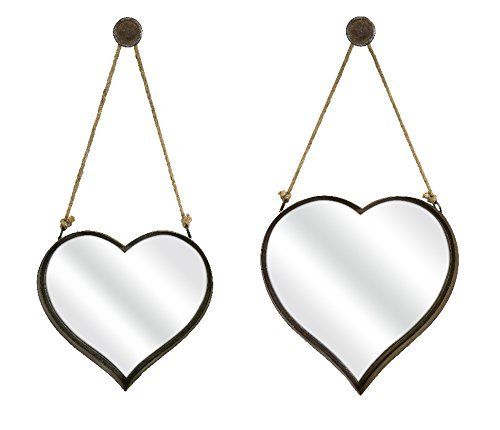 IMAX -2 Heart Shape Wall Mirror, Set of 2 - home wall art decor - heart shaped wall art