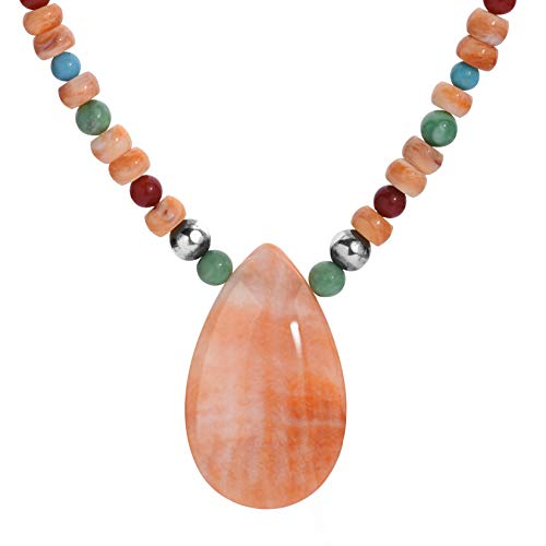 American West Sterling Silver Orange Spiny Oyster, Green Variscite, Red Coral, Blue Turquoise Beaded Necklace 17 to 20 Inch ()