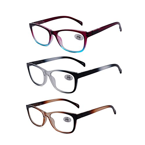 Amillet Reading Glasses 3 Pack for Men and Women,Spring Hinges Frame,3 Pairs with Gift Packing,Glasses for - Hinges Spring Glasses