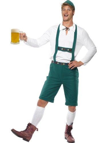Smiffy's Men's Oktoberfest Costume Lederhosen Shorts with Braces Top and Hat, Green, Medium