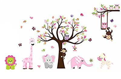 Cute Animal Zoo Swing Owl & Moneky Wall Sticker Monkey Playing on Tree Branch with Owl and Animal Friends Nursery Wall Decal