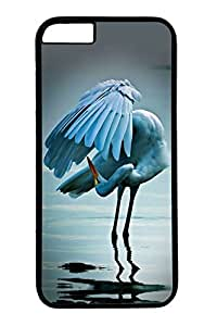 Personalized Protective Cases for iPhone 6 PC Black Edge - Red Crowned Crane