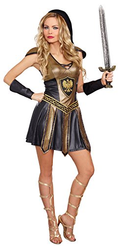 Dreamgirl Women's Deadly Warrior Costume, Black/Gold, (Horror Warrior Black Costumes)