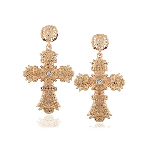 (Palace Hollow Carving Pattern Color Crystal Big Cross Baroque Dangle Earrings for Women Girls Party Gifts (Gold))