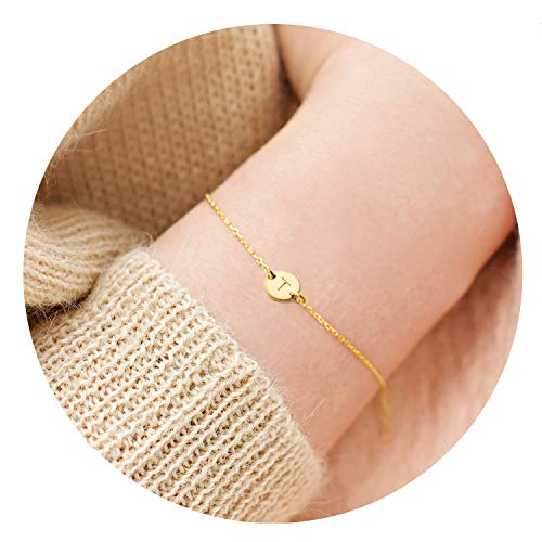 (18K Gold Plated Stainless Steel Initial Bracelet Personalized Letter T Charm Bracelet Small Dainty Disc Monogram Name Bracelet for Women)