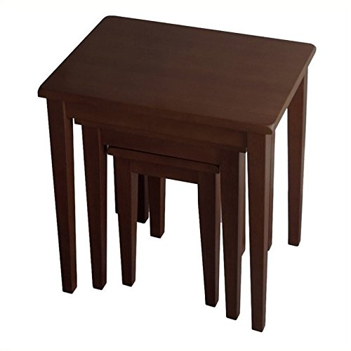 Pemberly Row 3 Piece Solid Wood Nesting Tables in Anitque Walnut