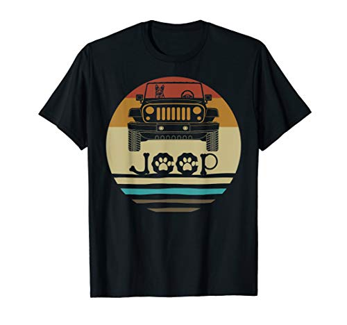 Retro Vintage German Shepherd Dog on Jeeps 70s Off Road Gift T-Shirt -