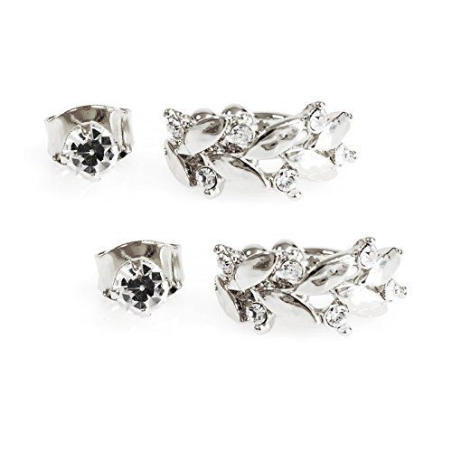 2 Pairs Silver Ear Cuffs Cartilage Ear Clips, Summer Carved Leaf Crystal Non Piercing Ear Cuff and Cubic Stud Earring Set (Best Place To Get Your Cartilage Pierced)