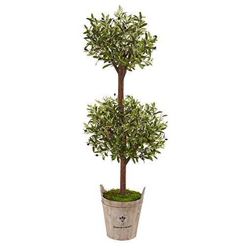 Nearly Natural 5' Olive Artificial Tree in Farmhouse Planter, Green by Nearly Natural