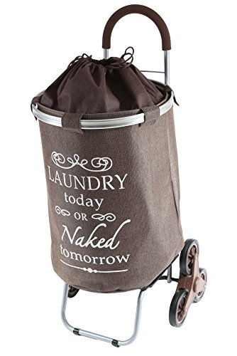 dbest products Stair Climber Laundry Trolley Dolly, Brown Laundry Bag Hamper Basket cart with wheels sorter