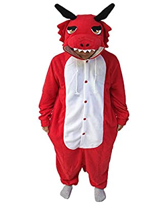 WOTOGOLD Animal Cosplay Costume Unisex Adult Red Dragon Pajamas