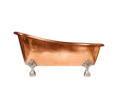 London Copper Clawfoot Bathtub in Polished Copper with Contrasting Feet