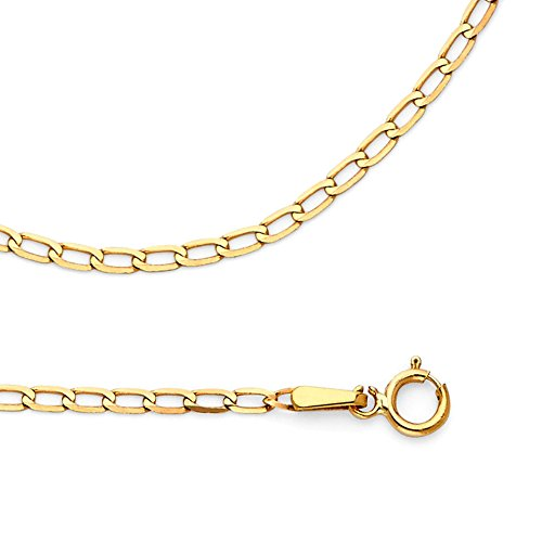 Solid 14k Yellow Gold Chain Curb Necklace Cable Open Link Polished Style Genuine, 2 mm - 22 inch by GemApex