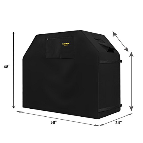 "Unique Home Grill Cover Up to 58"" Wide, Water Resistant, Air Vents, Padded Handles, Elastic hem cord - Heavy Duty burner gas BBQ grill Cover"