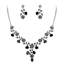 Austrian Crystal Flower Leaf Necklace Earrings Set