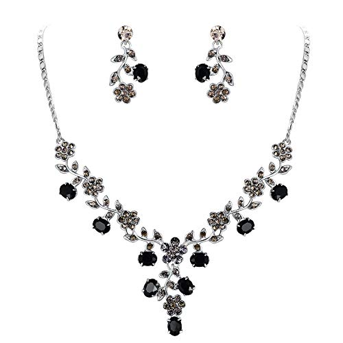 EVER FAITH Flower Leaf Necklace Earrings Set Austrian Crystal Silver-Tone - Black]()