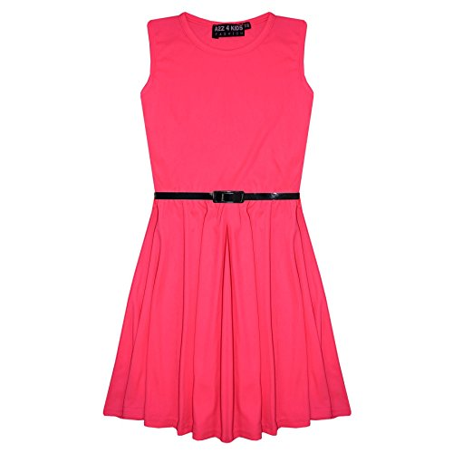 [Girls Skater Dress Kids Party Dresses With Free Belt 5 6 7 8 9 10 11 12 13 Years] (Neon Party Dresses)