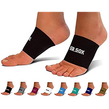 SB SOX Compression Arch Sleeves for Men & Women - Perfect Option to Our Plantar Fasciitis Socks - for Plantar Fasciitis Pain Relief and Treatment for Everyday Use with Arch Support (Black, Medium)