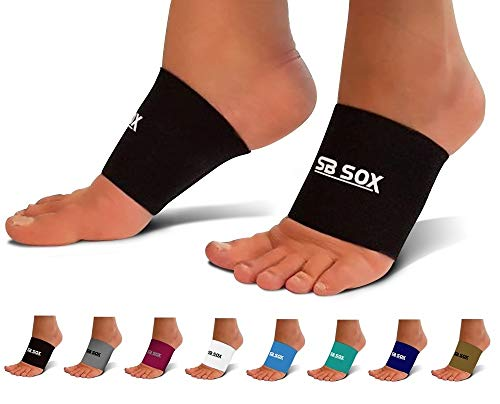 SB SOX Compression Arch Sleeves for Men & Women - Perfect Option to Our Plantar Fasciitis Socks - for Plantar Fasciitis Pain Relief and Treatment for Everyday Use with Arch Support (Black, Small)