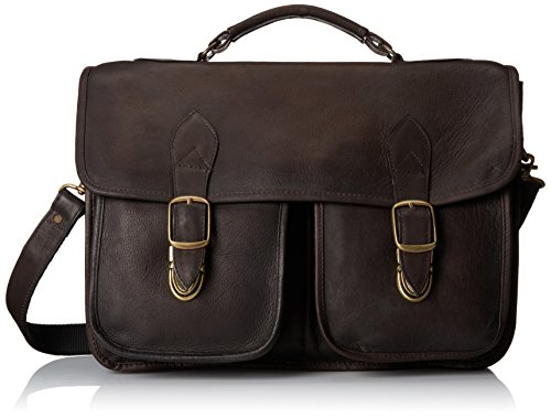 Leather Triple Gusset Flap - David King & Co. Top Handle Flap Over Portfolio Triple Gusset, Cafe, One Size