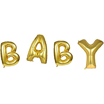 16 Inch Gold Alphabet Baby Foil Balloons Party Decorations Gold Letter Aluminum Mylar Balloons Bunting for Baby Shower Party Supplies