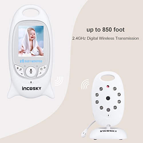 "incoSKY Video Baby Monitor Wireless Digital IR Camera Night Vision and Temperature Sensor 2 Way Talk TU2 2.4"" LCD Display White"